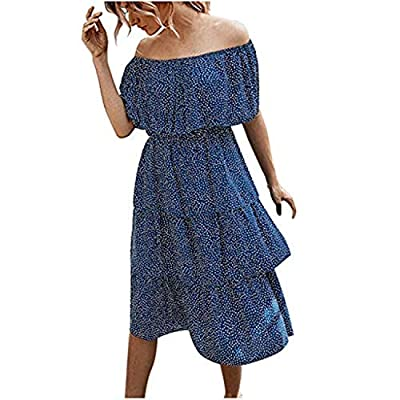 Excursion Clothing Women's Off The Shoulder Ruffles Summer Loose Casual Dot Print Long Party Beach Maxi Dress Sundress