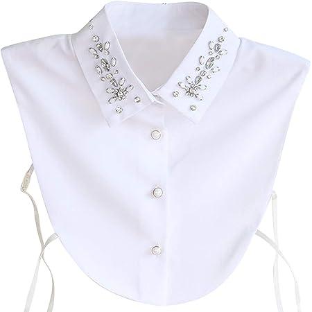 Hocaies Blusa de algodón para mujer, estilo vintage, elegante, desmontable, cuello blanco, cuello para blusa