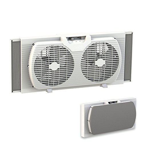 Lotus Analin Dual Blade 9-Inch Twin Window Fan with Cover Portable, White
