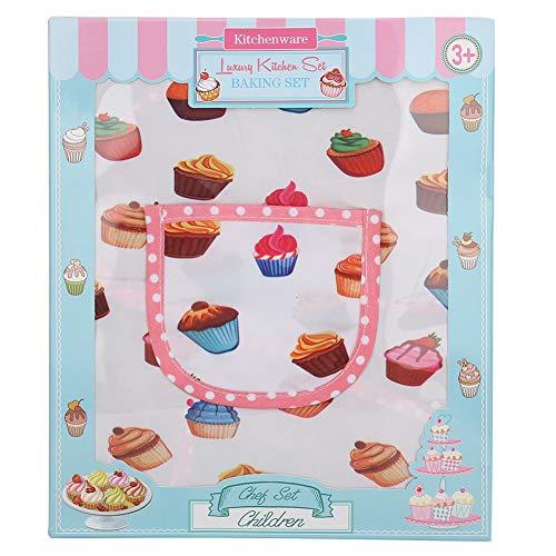 Chef Outfit Pink Kitchen Juego de rol, juguetes de cocina para niños, delantal para tartas para niños, accesorios de cocina para niñas para niños, regalo para niñas(11-piece cake apron set)