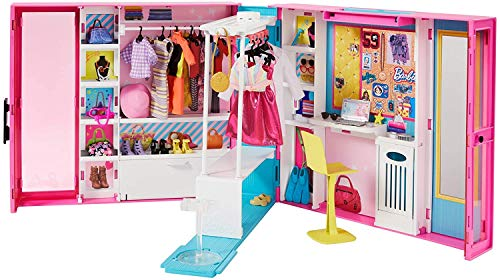 Barbie Fashionistas Le Dressing Deluxe pour poupée, transportable, avec 4 tenues et plus de 25 accessoires, emballage fermé, jouet pour enfant, GPM43