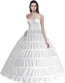 Hoop Skirt Petticoats for Women 6 Hoop Crinoline Underskirt Bridal Dress Gown White