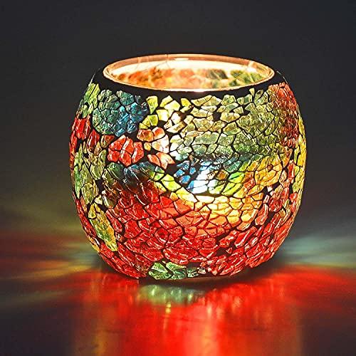 Larcenciel Bougeoir/ Porte-bougie/ Porte vase/ stylo Abat-jour en forme de bougie de lumière de thé en verre brisé fait main romantique Bougie Votive en Verre Mercury pour Mariages, Fête et Décoration