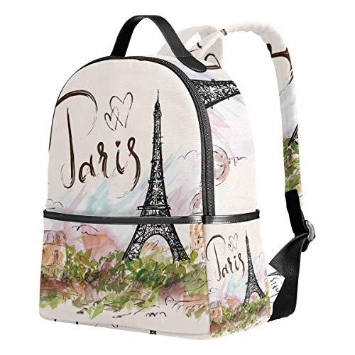 Ahomy Schulrucksack, Paris Eiffelturm, Büchertasche, Reisen, großer lässiger Rucksack für Teenager, Mädchen und Jungen