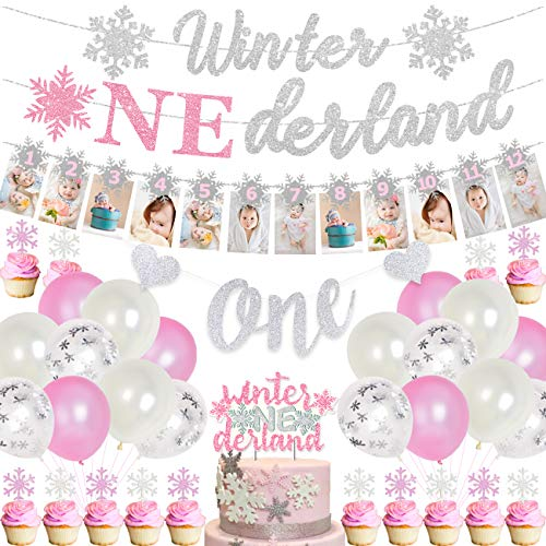 Pink and Silver 1st Birthday Decorations for Girls Frozen Themed Birthday Party Supplies with Snowflake Photo Banner Winter Onederland Banner Cake Topper Winter Onederland Birthday Decor
