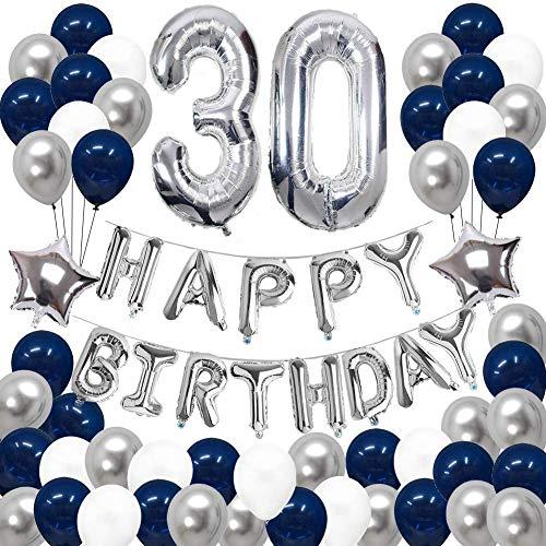 SUNPAT Decoraciones de 30 Cumpleaños, Feliz Cumpleaños Banner Kit Número 30 Set de Decoraciones de Fiesta Con Globos de Ppapel de Aluminio Azul y Astilla Para Hombres