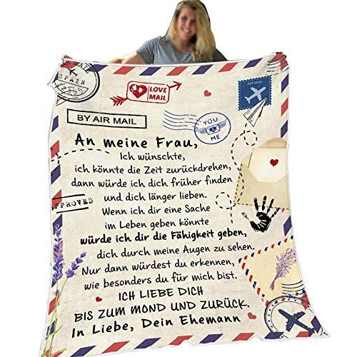 Flanell-Briefdecke, An Meine Frau, Luftpost Positiv Ermutigen Decke Quiltdecke Werfen, Liebe Deine Ehemann, 150 * 200