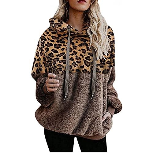 Wave166 Sudadera con capucha para mujer, de forro polar de peluche, informal, con estampado de leopardo, de manga larga, con cordón, para invierno, caqui, L