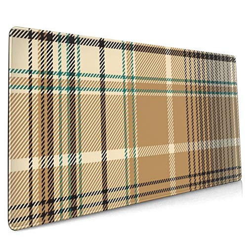 Extend Mouse Pad Beige Abstract Plaid 40 X 90 cm Gaming Mouse Pad with Water Resistant Surface, Non Slip Rubber Base