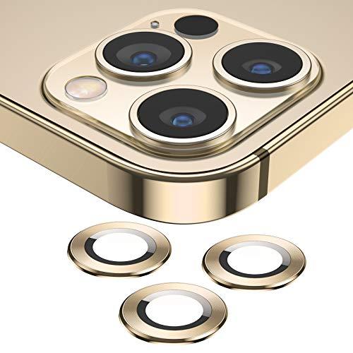 SAEYON Protector de Lente de Cristal Templado para iPhone 12 Pro 6,1 Pulgadas, 360 Grados Cobertura Completa Protector Cámara Trasera de Anillo Metálico, 9H Dureza, Anti-Rasguños, Polvo, Oro