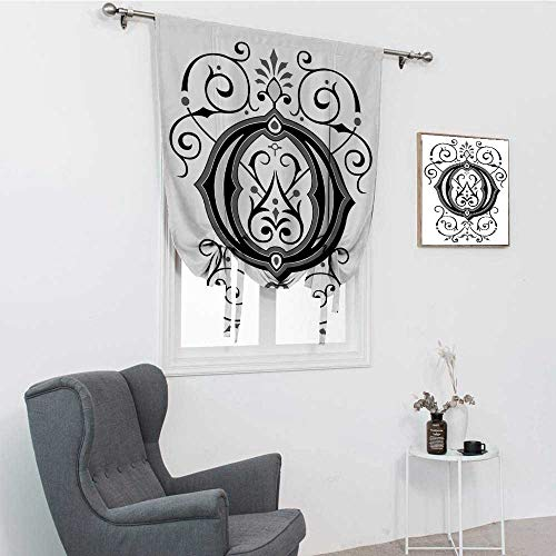 GugeABC Letter O Bathroom Curtains Window, Oriental Styled Capital O with Rococo Figures Design Middle Age Inspired Window Covering, Black Grey White, 39' x 64'