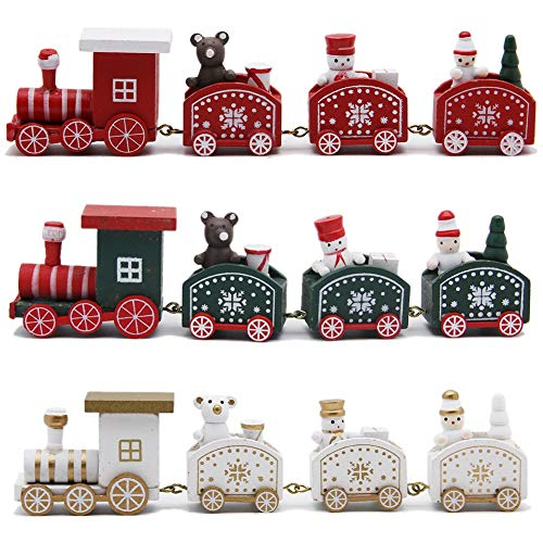 Happy Trees Wooden Christmas Train with Snowman, Mini Train Decor Set for Christmas Party, Christmas Train Ornament Toys for Kids Gift Home Decoration, 3 Pcs (White, Red, Green) (Set of 3)