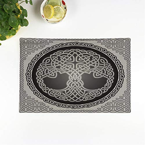 rouihot Set of 8 Placemats Knot Round Celtic Tree of Life Border Black White Non-Slip Doily Place Mat for Dining Kitchen Table