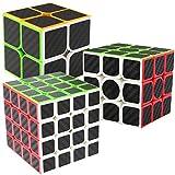 LSMY Speed Cubes 2x2x3 + 3x3x3 + 4x4x4, 3 Pack Puzzle Mágico Cubo Carbon Fiber Sticker Toy