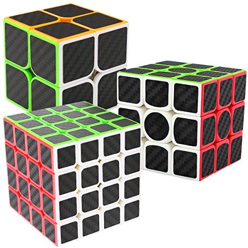 LSMY Zauberwürfel Magic Speed Cube 2x2x3 + 3x3x3 + 4x4x4, Speedcube 3 Pack Set Puzzle Würfel Carbon Faser Aufkleber 3D IQ Spielzeug