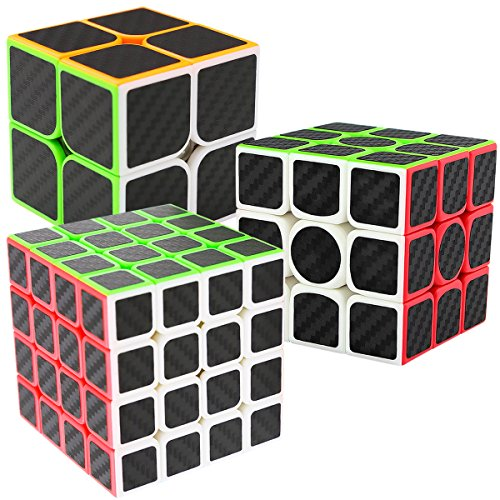 LSMY Speed Cubes 2x2x3 + 3x3x3 + 4x4x4, 3 Pack Puzzle Mágico Cubo Carbon Fiber Sticker Toy