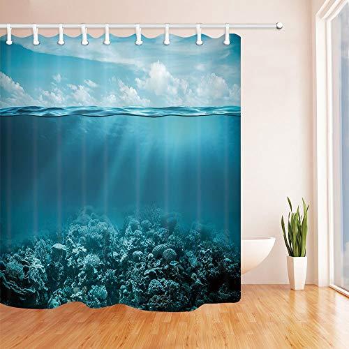 /N Nature Decor Duschvorhänge, Koralle & Riff im tiefen Ozean, Badezimmer Gardinen