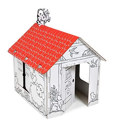 """ANNAHOUSE Casa de cartón blanca con diseño creativo """"Spielhaus Landschaft"""" con animales de uso y techo rojo para pinta, bricolaje, grande, 3 años"""