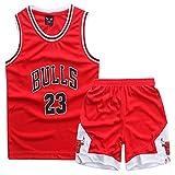GAOZI Magliette da Basket Maglie da Basket per Bambini Jordan #23 Basket Veste Pantaloncini Estivi...
