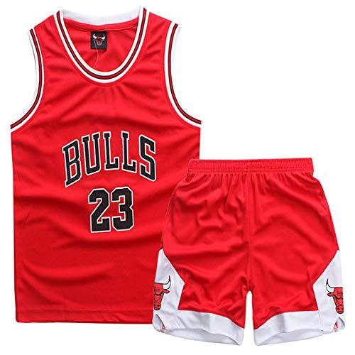 GAOZI Magliette da Basket Maglie da Basket per Bambini Jordan #23 Basket Veste Pantaloncini Estivi Set per Ragazzi e Ragazze Jersey Basketball Maglie