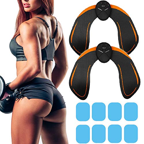 2 PCS Butt Hips Trainer Upgrade Muscle Buttock Toner Fitness Training Gear Home Office Ab Trainer Workout Excercise Equipment Electric Machine Fitness for Women Men with Replacement Gel Pads