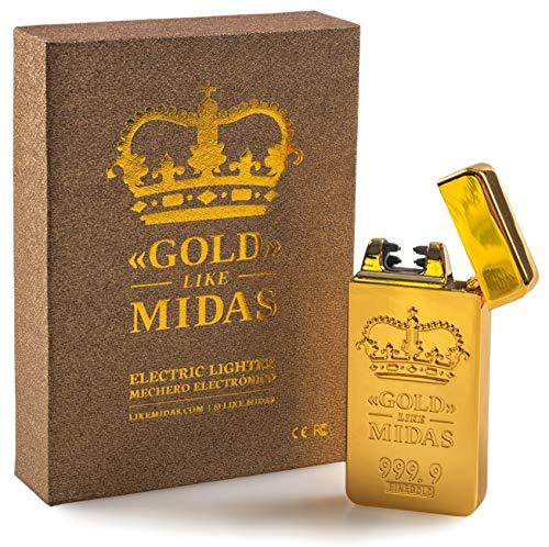 LIKE MIDAS - GOLD - Mechero eléctrico de plasma con forma premium de lingote de oro, recargable por USB