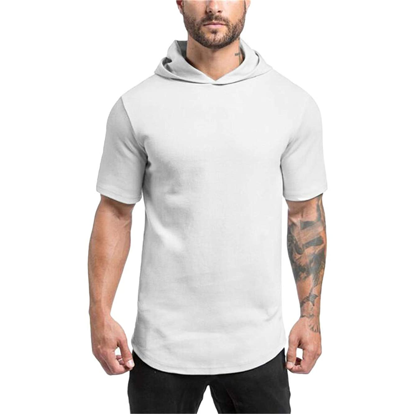 Men's Solid Short-Sleeve Hooded Shirts Slim Fit Sports Casual Tee Tops Blouse
