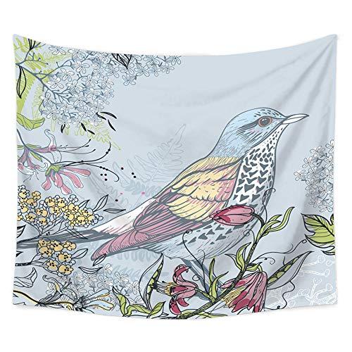 MRQXDP Rode vleugels vogel groen blauwe bloemen schets kleur patroon, tapijt slaapkamer woonkamer muur decoratie sjaal strand handdoek