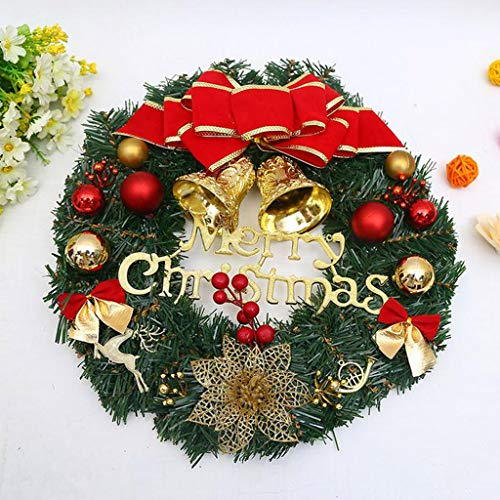 30CM Artificial Christmas Flower Leaf Wreath - Spring Floral Crafts For Front Doors Wall Windows Hanging Ornaments, Real Touch Silk Petals Flexible Leaf Branchs Farmhouse Rattan Decor