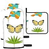 Puilkfgt Colección Tropical Hermosas Mariposas Pájaros con Guantes para Horno y Porta Ollas (Juego de 3 Piezas) Calor Impermeable