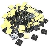 RedBeryl 選べる 結束バンド用 タイ マウントベース 粘着テープ付 インシュロック 配線 固定 ケーブルタイ (25mmx25mm 黒 100個)
