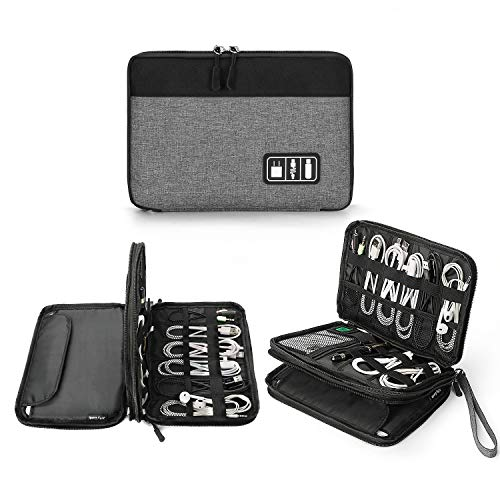 Electronics Organizer, Jelly Comb Electronic Accessories Cable Organizer Bag Waterproof Travel Cable Storage Bag for Charging Cable, Cellphone, Mini Tablet and More (Black and Grey, Medium)