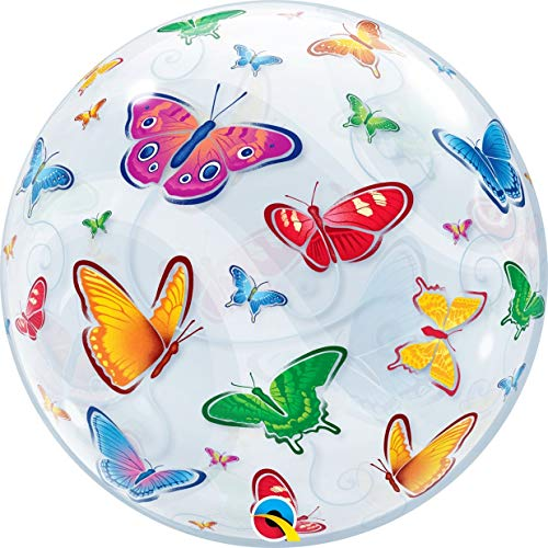 Qualatex 15607 vlinders Single Bubble latex ballon, 22