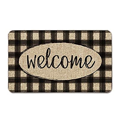 Artoid Mode Buffalo Plaid Welcome Quote Decorative Doormat, Seasonal Fall Holiday Low-Profile Floor Mat Switch Mat for Indoor Outdoor 17 x 29 Inch