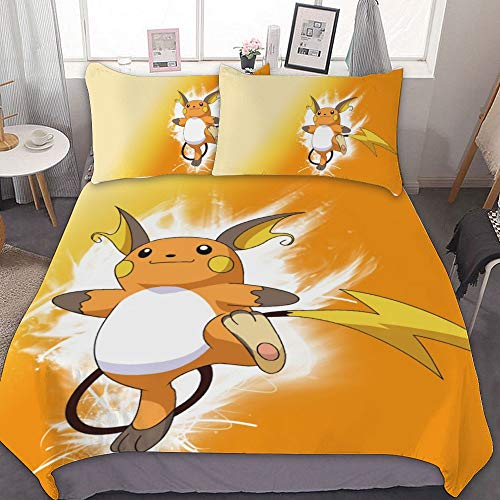 MEW Anime Bedding Duvet Cover Set,TWIN (68x86 inch), Raichu,3 Pieces Bedding Set,With Zipper Closure and 2 Pillow Shams, Cute Cartoon bedroom Comforter Sets for Boys Girls