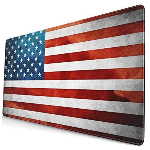 Alfombrilla de ratón Colorida Personalizada, Alfombrilla de Escritorio con Bandera Americana de EE. UU, Protector de Alfombrilla de ratón, Alfombrilla Grande para Teclado para Juegos, Alfombrilla gra