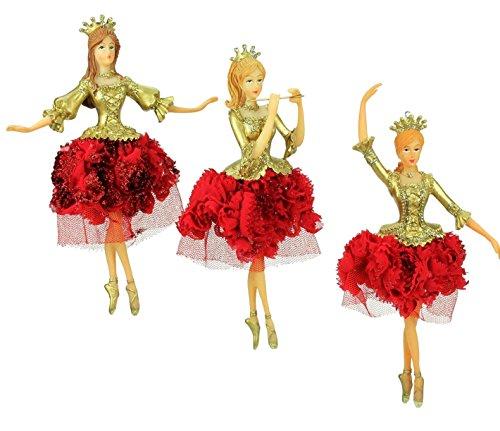 Gisela Graham Set mit 3 Nussknacker Ballerina blassgold Christbaumschmuck NEU