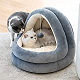 Rednut Cat Bed for Indoor Cats, Therapeutic Round Cuddle Nest Snuggery Burrow Blanket Pet Bed, Machine Washable Cat Beds, and Anti-Slip & Water-Resistant Bottom for Indoor Cats