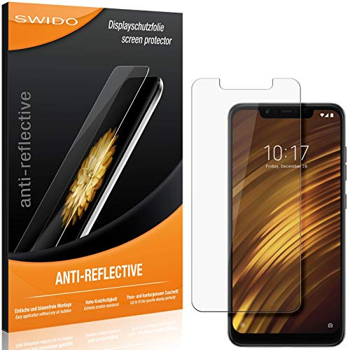 SWIDO Schutzfolie für Xiaomi Poco F1 [2 Stück] Anti-Reflex MATT Entspiegelnd, Hoher Festigkeitgrad, Schutz vor Kratzer/Folie, Bildschirmschutz, Bildschirmschutzfolie, Panzerglas-Folie
