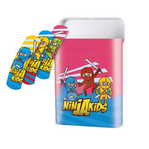 40 Pflaster-Strips Box 5,6 cm x 1,9 cm - mit 3 Kids-Like Ninjas Motiven für eine schnelle Heilung, wiederverwendbare Zinkbox, 2er Pack (2 x 1 Stück)
