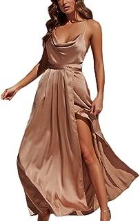 Women's Sexy Deep V Neck Backless Split Maxi Cocktail Long Party Dresses(30Color S-XXL)