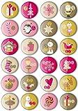 24 Adventskalender Zahlen Buttons: Bunte, nummerierte Anstecker Xmas-3 (Ø 25 mm) zum Basteln von...