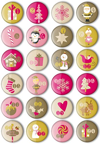 24 Adventskalender Zahlen Buttons: Bunte, nummerierte Anstecker Xmas-3 (Ø 25 mm) zum Basteln von DIY-Weihnachts-Kalendern