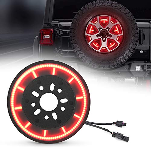 SUPAREE Plug & Play Spare Tire Brake Light T- Style Wheel Light 3rd Third Brake Light Compatible with 2018 2019 2020 Wrangler JL JLU with Back Up Camera