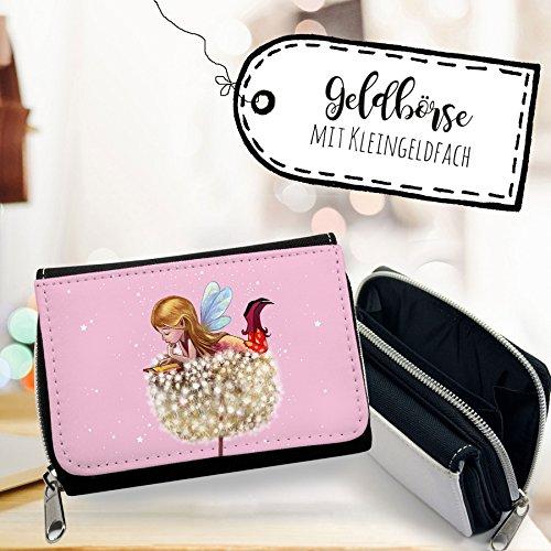 ilka parey wandtattoo-welt Portemonnaie kleine Elfe Portmonee Geldbörse Brieftasche in rosa mit Elfe Fee auf Pusteblume und Sterne gk117