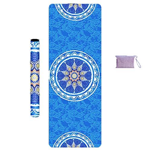 Yoga mat fitness mat sport mat zweet-proof anti-skid grote opvouwbare 1.5MM TPE materiaal thuis geurloos beginner handdoek Yoga Matten (Color : Blue, Size : 185 * 68 * 0.15cm)
