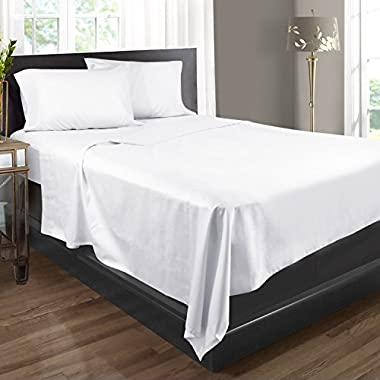 Bed Sheets, 100% Egyptian Cotton, 400 Thread Count - Full - White - 4 Piece Bed Sheet Set, Expertly Woven To Produce Lustrous Satin Finish, Deep Pocket, Machine Washable, By Clara Clark