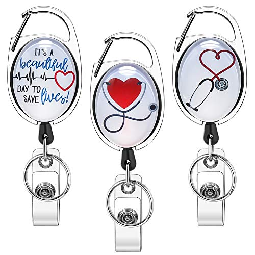 Xoqo Heavy Duty Retractable with Carabiner Badge Reel, Crystal Glass Badge Holder with Belt Clip and Key Ring, Badge Holders for Office Worker Doctor Nurse 3 Pack (Heartbeat and Stethoscope)