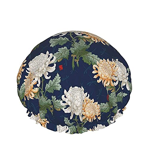 Gorro de ducha de baño con flores de crisantemo japonés, sombreros de baño elásticos reutilizables para mujeres, impermeables y ajustables