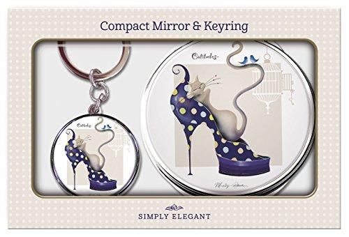 Maranda Ti Dizzy Cat ronde Miroir compact et porte-clés dans une boîte cadeau